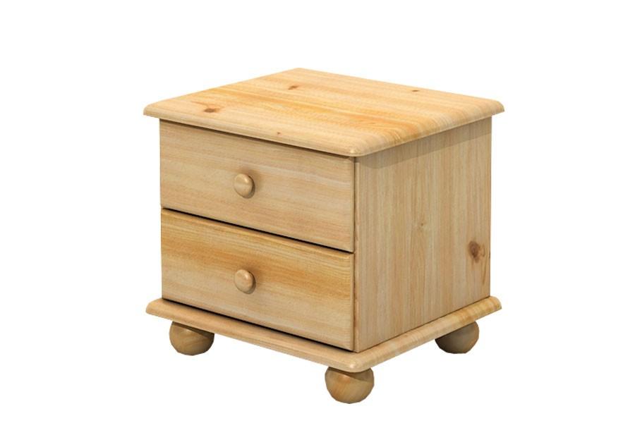 Nočný stolík 2 zásuvky, masív borovica - B202