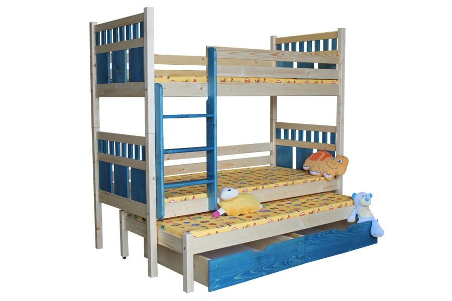 Poschodová posteľ, trojpostel Vašík (základné prevedenie) - B408-80x180