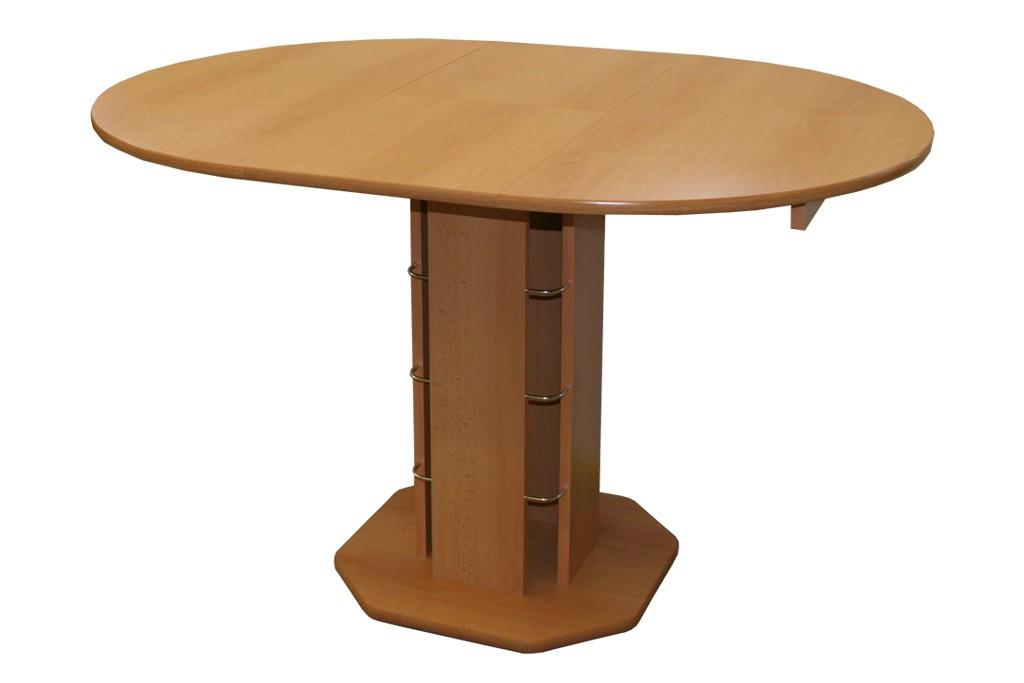 Jedálenský stôl rozkladací guľatý Tadeáš, hnedý - S07