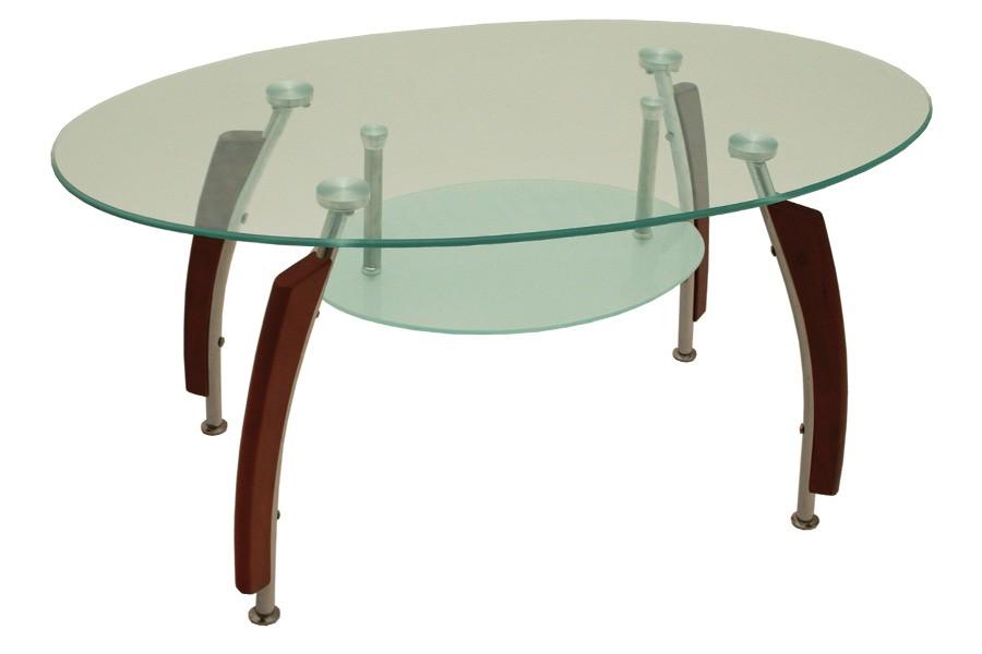 Jedálenský stôl oválny, sklo + masív GUSTAV - S83