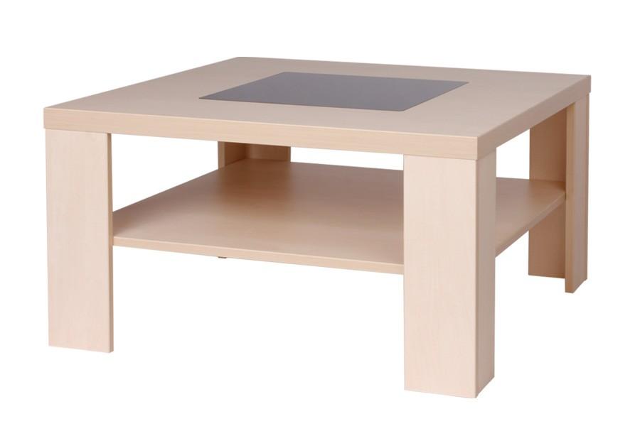 Konferenčný stolík TOBIAS, štvorcový, sklo čierne - K105