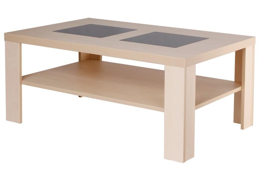 Konfenční stolík ALAN, obdĺžnik, sklo, police - K115
