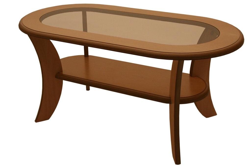 Konferenčný stolík IGNÁC, oválny, MDF + sklo - K51