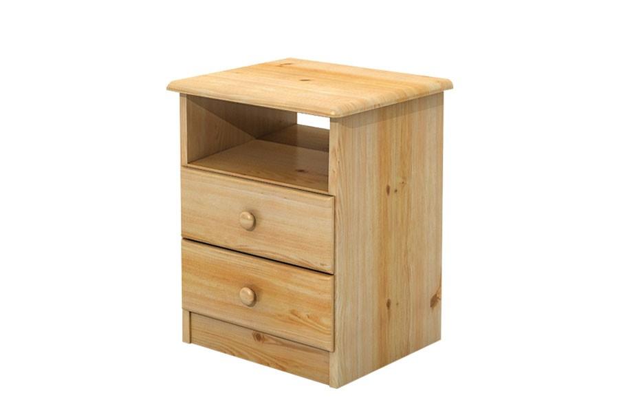 Nočný stolík 2 zásuvky, masív smrek - B733