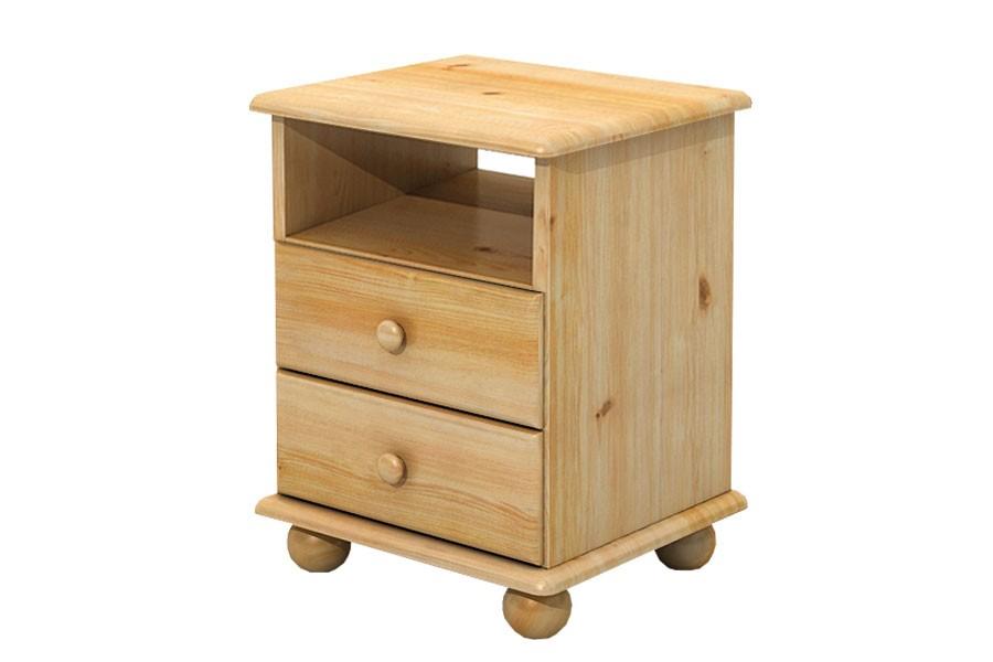 Nočný stolík 2 zásuvky, masív smrek - B833