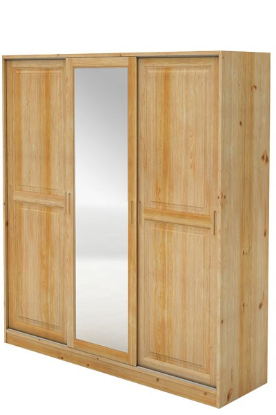 Skriňa s posuvnými dverami, trojdverová + zrkadlo, smrek - B724