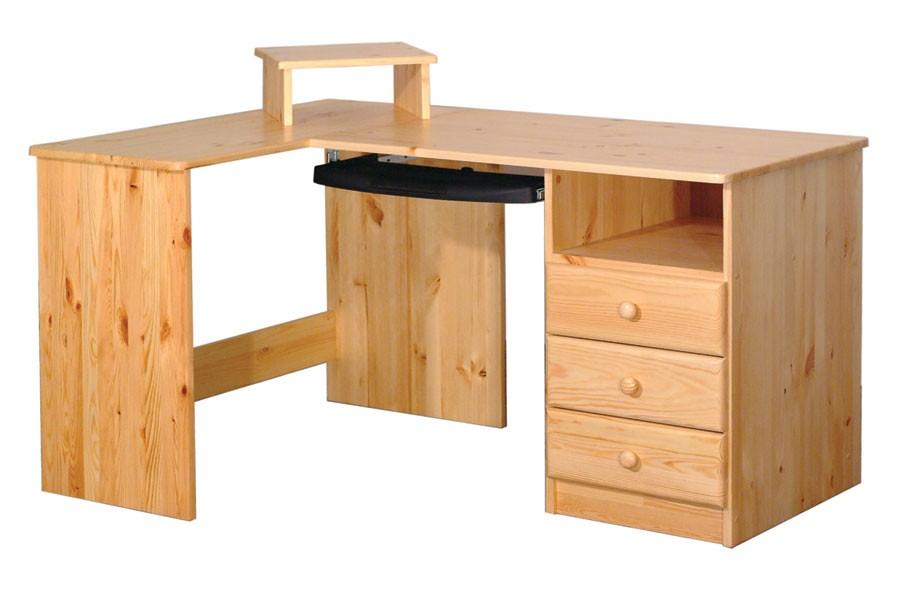 Písací stôl rohový, 3 zásuvky smrek - B741
