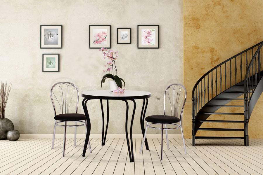 Jedálenský stôl OLEG, priemer 80, nohy chróm - S150