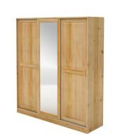 Skriňa s posuvnými dverami, trojdverová so zrkadlom, masív borovica - B024