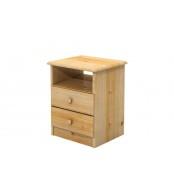 Nočný stolík 2 zásuvky, masív borovica - B033