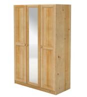 Skriňa so zrkadlom, trojdverová, masív borovica - B040
