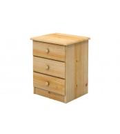 Nočný stolík 3 zásuvky, masív smrek - B702