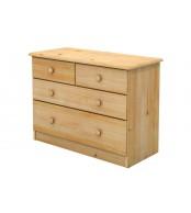 Komoda 2 + 2 zásuvky, masív smrek (voľba farby dreva) - B734