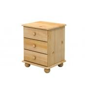 Nočný stolík 3 zásuvky, masív smrek - B802