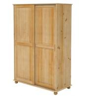 Šatníková skriňa dvojdverová, zasúvacie dvere, masív smrek - B827
