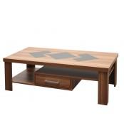 Konferenčný stolík VIKTOR, obdĺžnik, zásuvky a sklo - K110