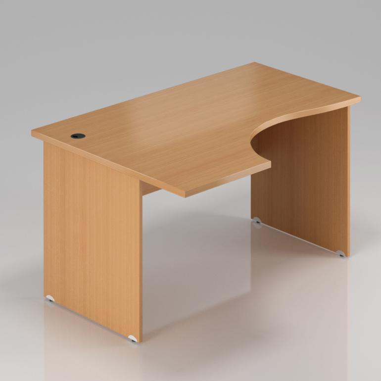 Kancelársky rohový stôl ľavý Komfort, drevená podnož, 160x70 / 100x76 cm - BKA21 11