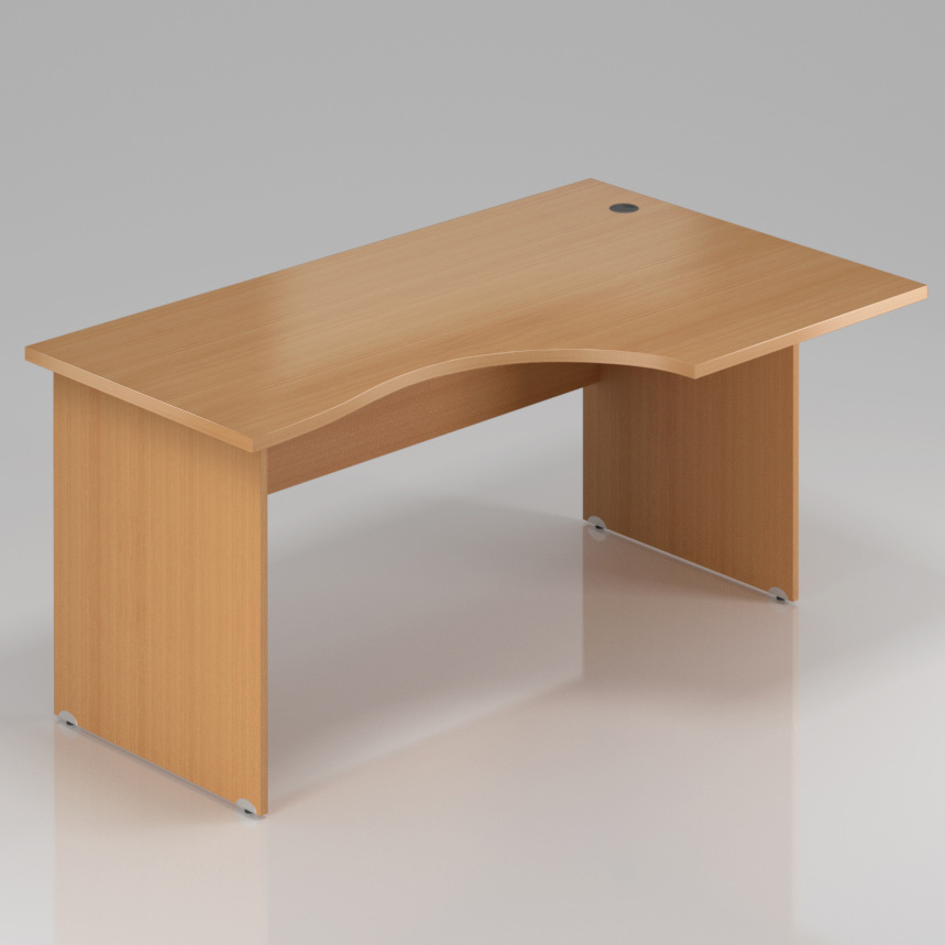 Kancelársky rohový stôl pravý Komfort, drevená podnož, 160x70 / 100x76 cm - BKA20 11