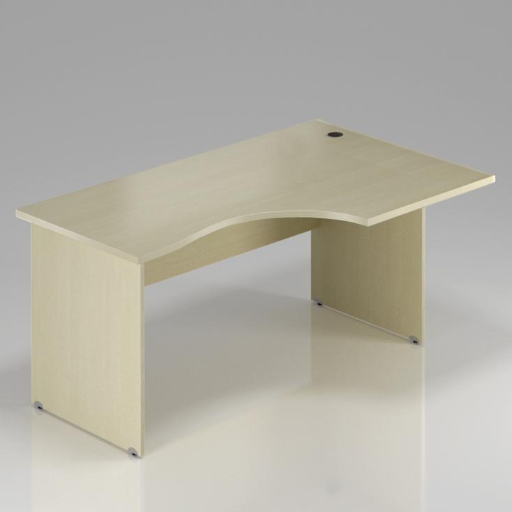 Kancelársky rohový stôl pravý Komfort, drevená podnož, 160x70 / 100x76 cm - BKA20 12