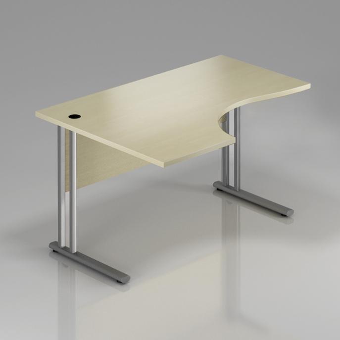 Kancelársky stôl rohový ľavý Komfort, kovová podnož, 160x70 / 100x76 cm - BPR21 12