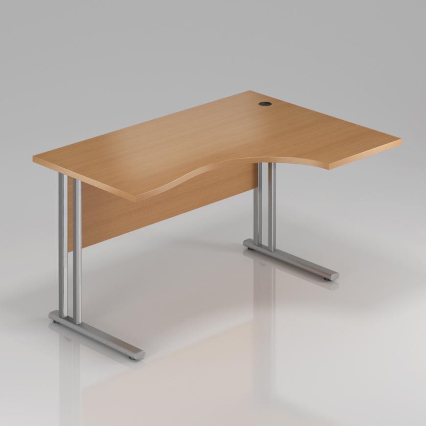 Kancelársky stôl rohový pravý Komfort, kovová podnož, 160x70 / 100x76 cm - BPR20 11