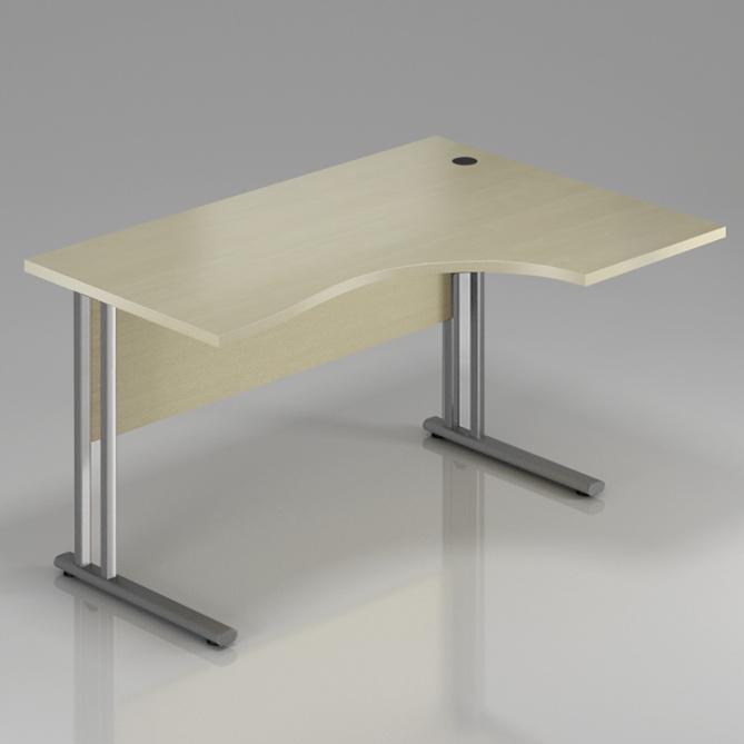Kancelársky stôl rohový pravý Komfort, kovová podnož, 160x70 / 100x76 cm - BPR20 12