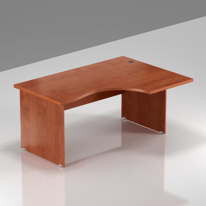 Kancelársky rohový stôl pravý Komfort, drevená podnož, 140x70 / 100x76 cm - BKA18 03