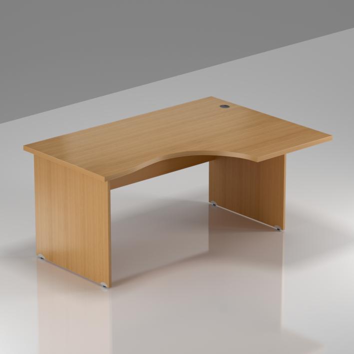 Kancelársky rohový stôl pravý Komfort, drevená podnož, 140x70 / 100x76 cm - BKA18 11