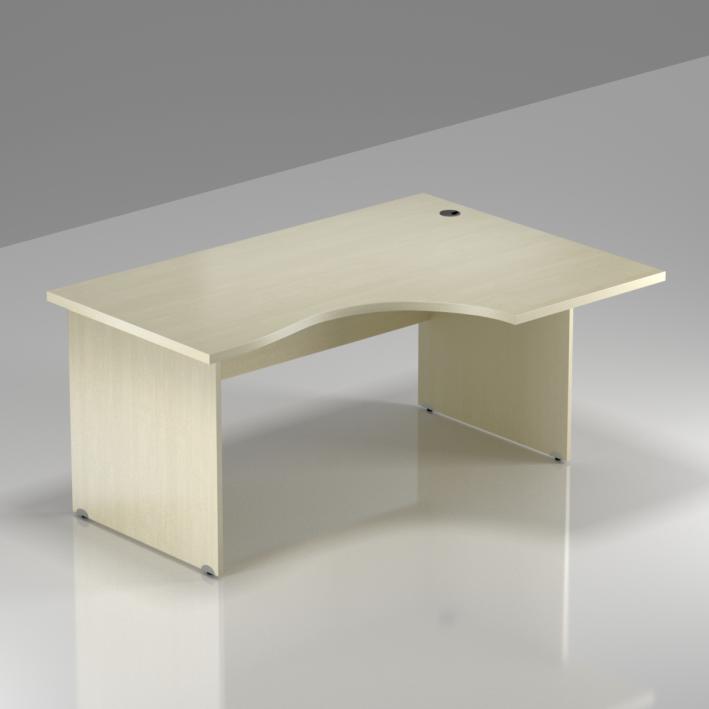 Kancelársky rohový stôl pravý Komfort, drevená podnož, 140x70 / 100x76 cm - BKA18 12