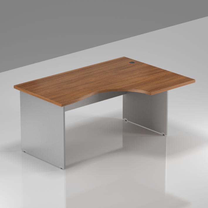 Kancelársky stôl rohový pravý Komfort, drevená podnož, 140x70 / 100x76 cm - BKA18 19
