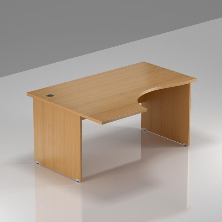 Kancelársky rohový stôl ľavý Komfort, drevená podnož, 140x70 / 100x76 cm - BKA19 11