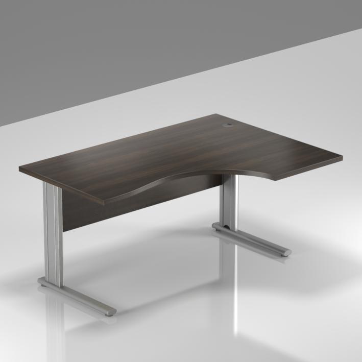 Kancelársky stôl rohový pravý Komfort, kovová podnož, 140x70 / 100x76 cm - BPR18 07