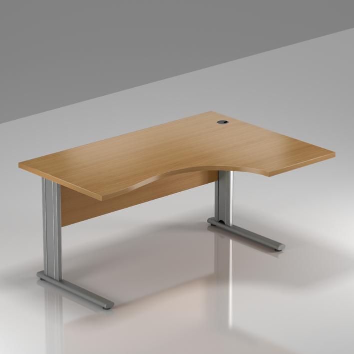 Kancelársky stôl rohový pravý Komfort, kovová podnož, 140x70 / 100x76 cm - BPR18 11