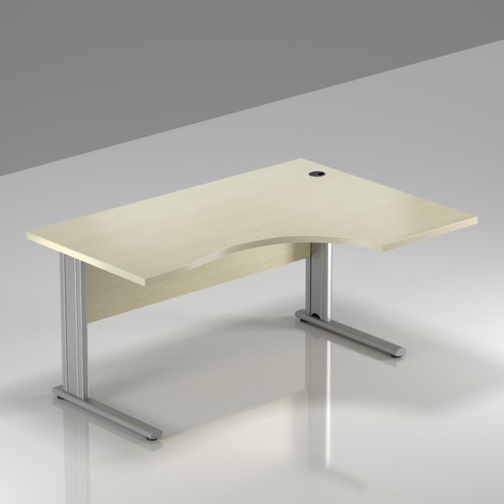 Kancelársky stôl rohový pravý Komfort, kovová podnož, 140x70 / 100x76 cm - BPR18 12