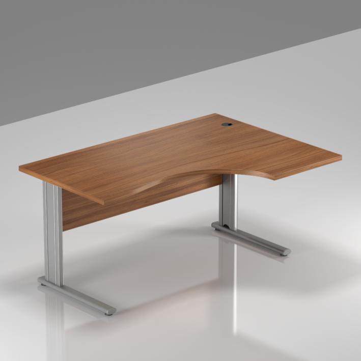 Kancelársky stôl rohový pravý Komfort, kovová podnož, 140x70 / 100x76 cm - BPR18 19