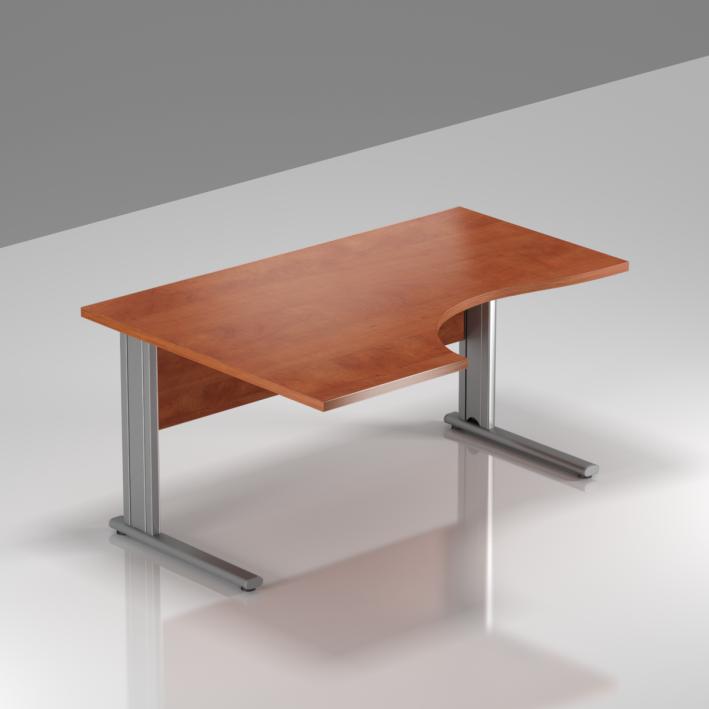 Kancelársky stôl rohový ľavý Komfort, kovová podnož, 140x70 / 100x76 cm - BPR19 03