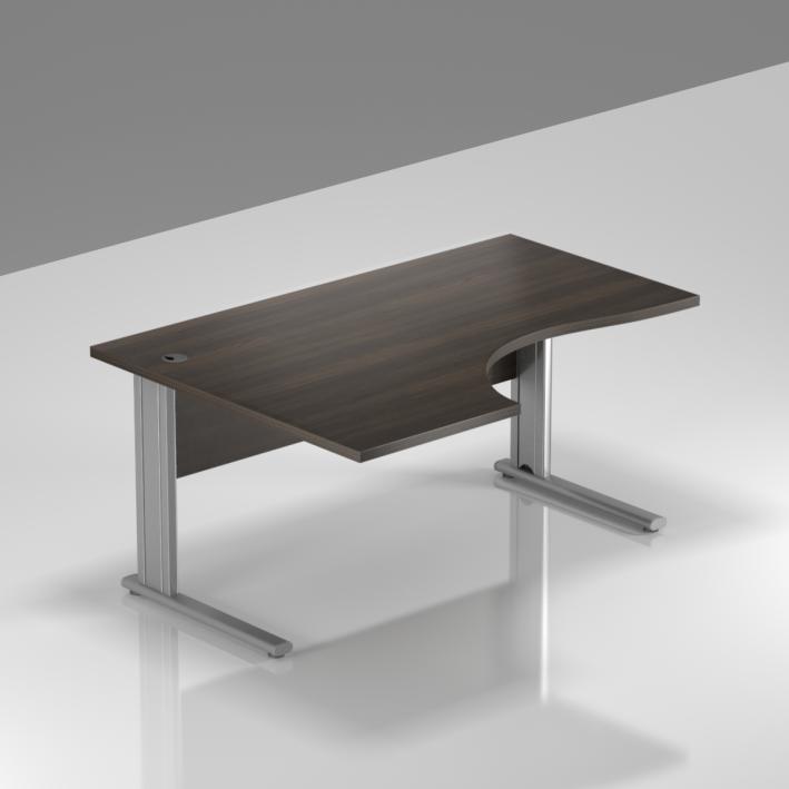 Kancelársky stôl rohový ľavý Komfort, kovová podnož, 140x70 / 100x76 cm - BPR19 07