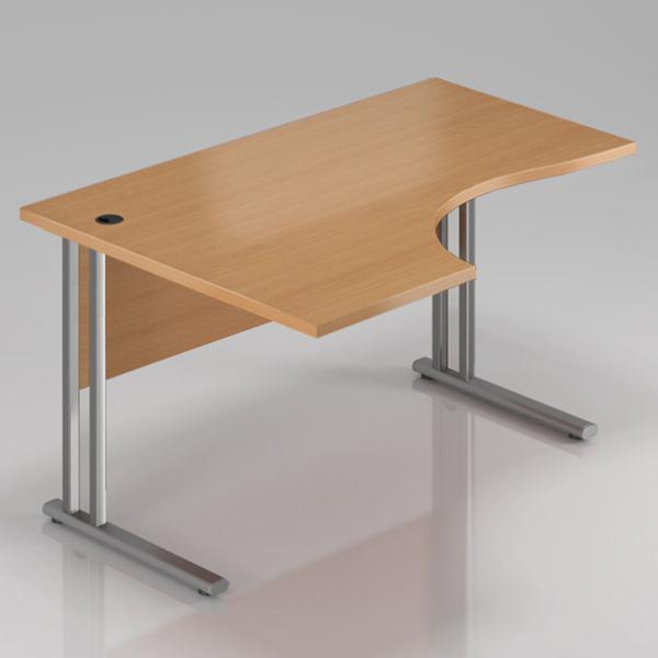 Kancelársky stôl rohový ľavý Komfort, kovová podnož, 140x70 / 100x76 cm - BPR19 11