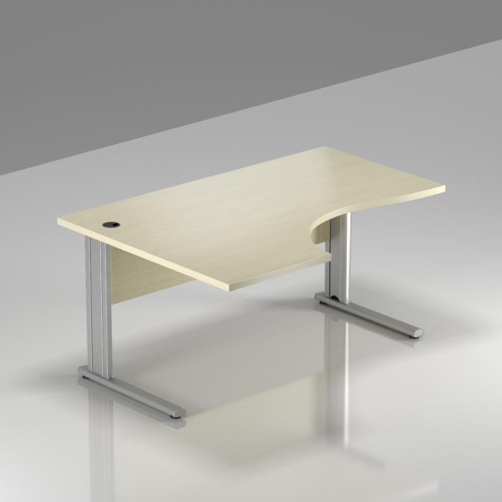 Kancelársky stôl rohový ľavý Komfort, kovová podnož, 140x70 / 100x76 cm - BPR19 12