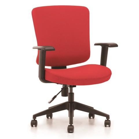 Kancelárska stolička Casa, červený sedák aj opierka chrbta - CASA B14