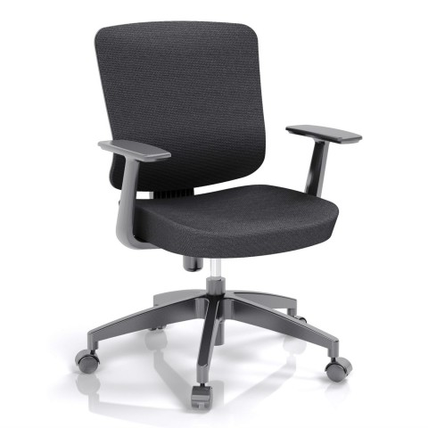 Kancelárska stolička Casa, čierny sedák aj opierka chrbta - CASA B15
