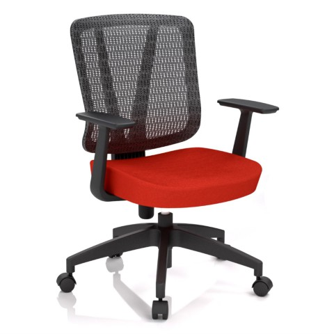 Kancelárska stolička Casa, červená, opora chrbta sieťová čierna - CASA NET B14