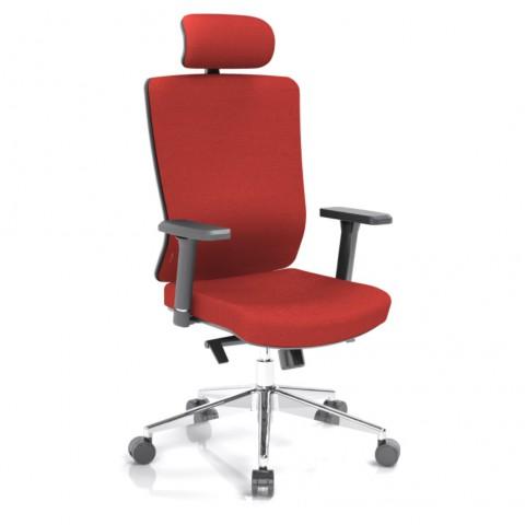 Kancelárska stolička Vella, červená s hlavovou opierkou - VELLA AF B14