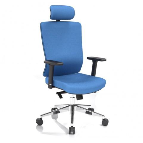 Kancelárska stolička Vella, modrá s hlavovou opierkou - VELLA AF B16