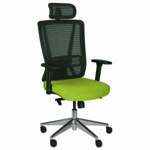 Kancelárska stolička Vella, zelená s hlavovou opierkou - VELLA AMF B11