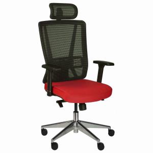 Kancelárska stolička Vella, červená s hlavovou opierkou - VELLA AMF B14