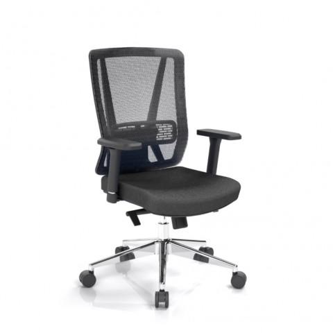 Kancelárska stolička Vella, čierna, opora chrbta sieťová čierna - VELLA BMF B15