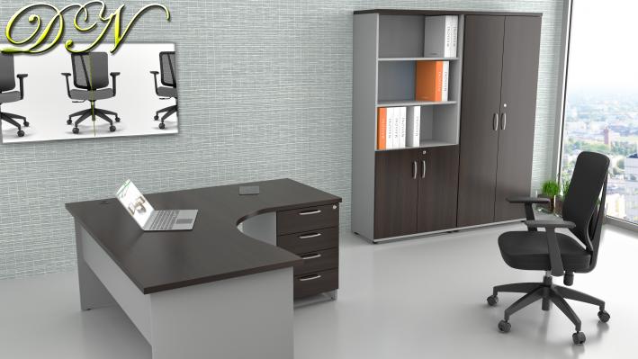 Zostava kancelárskeho nábytku Komfort 1.12, gaštan / sivá - ZE 1.12 07