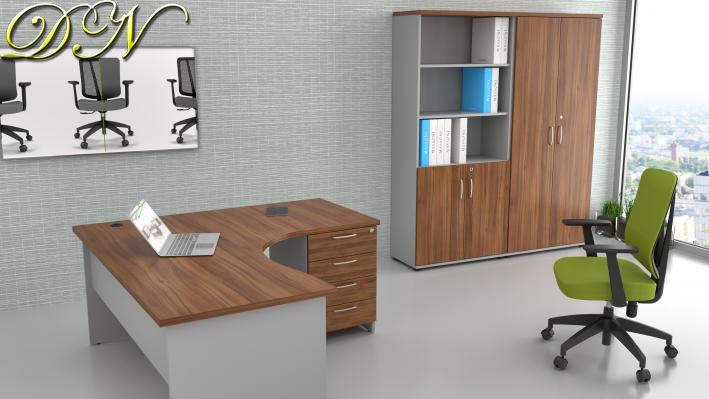 Zostava kancelárskeho nábytku Komfort 1.12, orech / sivá - ZE 1.12 19