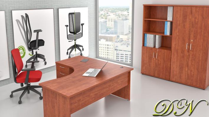 Zostava kancelárskeho nábytku Komfort 1.18, calvados - ZE 1.18 03